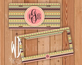 aztec pattern coral green gold and tan license plate or frame monogrammed  - black  monogram  car tag  aztec bike accessory