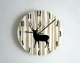 Deer Wall Clock - Rustic Wall Clock - Woodland Wall Clock - Cabin Decor - Rustic Wall Decor - Unique Wall Clock - Upcycled Wall Art
