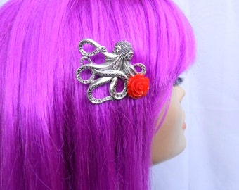 Steampunk Octopus Hair Clip with Red Rose-Sailor Jerry The Kraken Pin Up Rockabilly Victorian Accessories