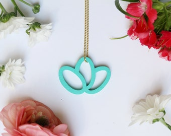 turquoise geometrical pendant, wood pendant, rose necklace, laser cutted, delicate gold plated silver chain, made in germany