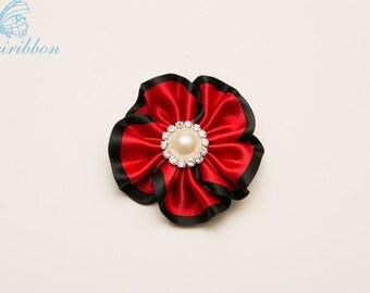 black and red flower hair clip - hair bow ribbon flower  104