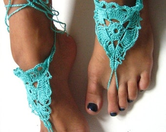 Ready to ship! Barefoot Sandals,green Crochet Sandals, Sexy Foot Jewelry, Yoga Shoes, Foot Thongs, Nude Shoes, Lace Sandles