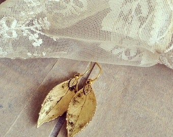 Antique Gold Leaf Earrings