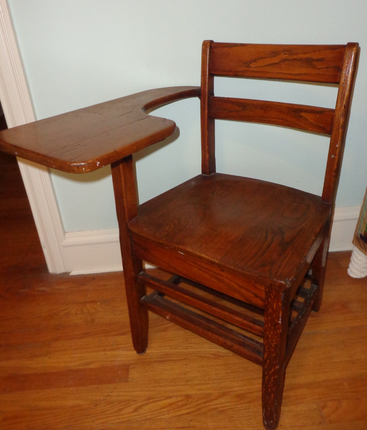 Antique Solid Oak School Desk Chair