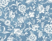 One Yard Normandy Court - Petite Florals in Light Blue and White - Cotton Quilt Fabric - by Michele D'Amore for Benartex Fabrics (W1475)