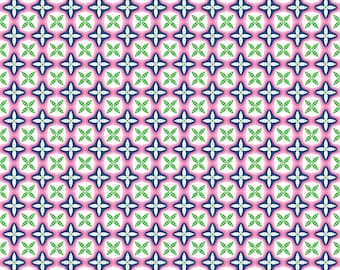 "19"" REMNANT True Blue - Jack and Jill in Pink - Geometric Cotton Quilt Fabric - Kid's Nautical Fabric by Ana Davis for Blend Fabrics (W1850)"
