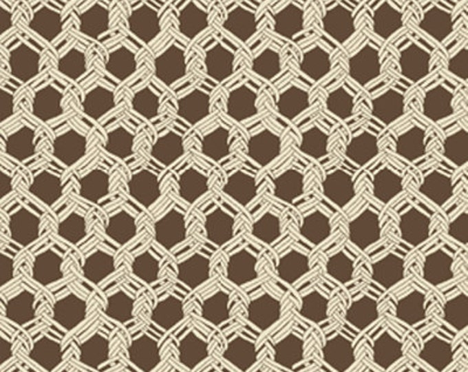 SUPER CLEARANCE!! One Yard By The Sea - Landing Net in Caramel Brown - Nautical - Cotton Quilt Fabric from Benartex Fabrics (W669)