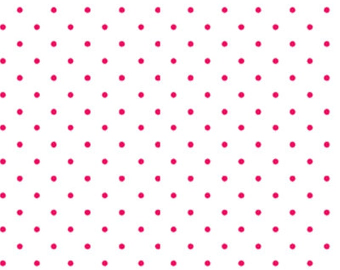 """35"""" REMNANT Sweet Shoppe (Calicos Candies) - Little Dot in White and Red -Cotton Quilt Fabric - Michele D'Amore for Benartex Fabrics (W1542)"""