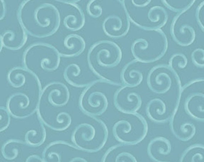 Half Yard Christmas Pure & Simple - Scrolls in Teal - Cotton Quilt Fabric - Nancy Halvorsen for Benartex - Christmas Pure and Simple (W1759)