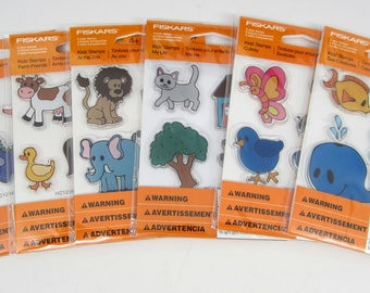 Set of 6  Packages Fiskars Kid's Stamps - Use With Stamp Block