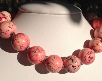 Coral-Color Dyed Turquoise Necklace