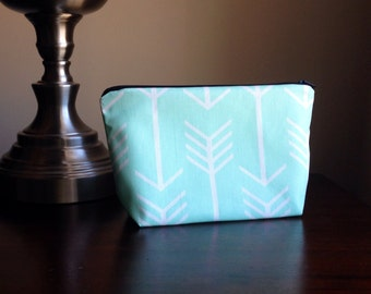Makeup bag, cosmetic case, zipper pouch, clutch - Mint Green Arrows