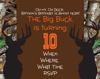 Camo Deer Invitation
