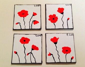 Hand painted coaster set.custom coasters,poppy painted coasters,poppies,coasters