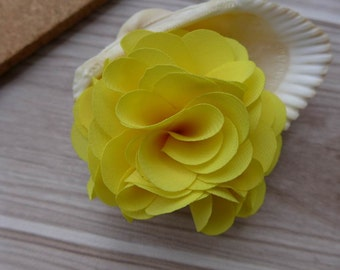Yellow 3D Chiffon Fabric Flowers Applique 2 pcs for Bridal, Weddings, Headbands, Costumes