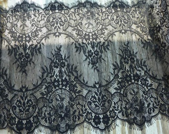 Black Floral Lace Fabric, Chantilly Lace Trim, Scalloped Eyelash Fabric, Women Shawls Lace