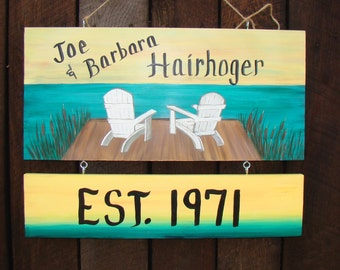 Address Personalized Camp  Camping Yard Name Sign  Hand Painted on Both Sides Double Sided  Designs Lake Cabin Beach Chairs on Dock