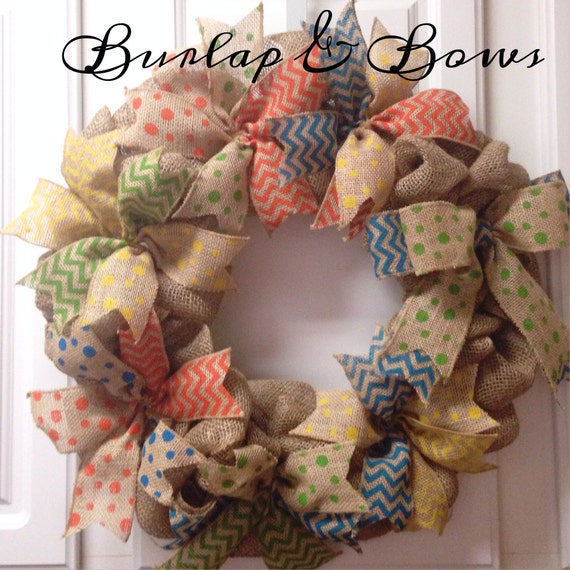 Burlap wreath summer wreath spring wreath by for Colorful summer wreaths