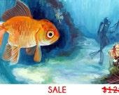 SALE - Something Fishy Going On - 6 x 12  - Giclee Print on Canvas -- Nautical Art, Art, Canvas, Print, Painting, Giclee, Fine Art, Decor