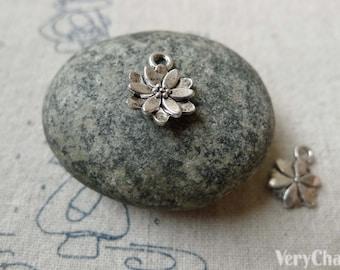 20 pcs Antique Silver Small Petal Flower Charms 10x14mm A6570