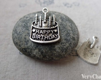 Birthday Cake Antique Silver Charms 15x19mm Set of 20 pcs A6695