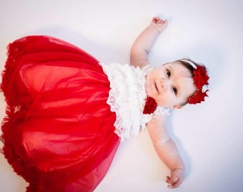Red Tutu Dress - Christmas Tutu Dress w/ matching headband - Infant Christmas Dress - Toddler Christmas Dress