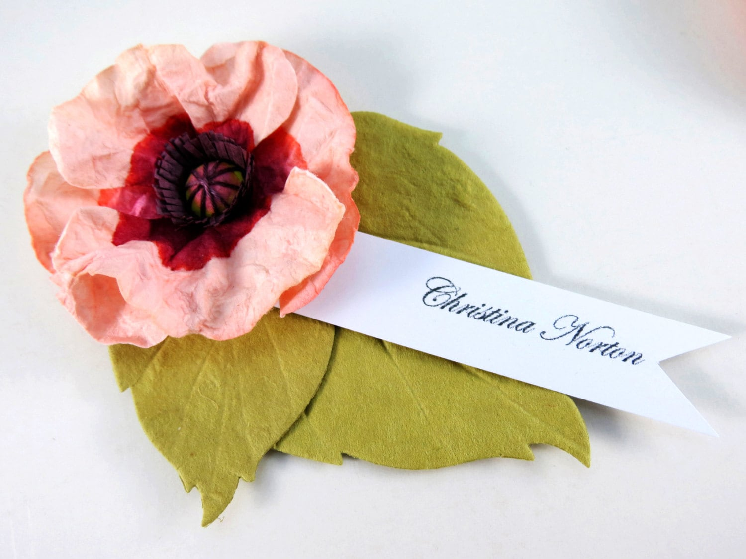 Paper Flower Place Cards 6 Pink Poppy Escort Cards Wedding Decor