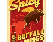 Spicy Buffalo Wings Hot Sauce Wall Decal #47014