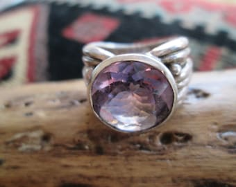 Sterling Silver with Huge Amethyst Ring Size 7.25