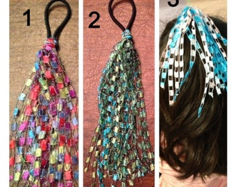 ponytail holder, yarn ponytail holder, elastics, pigtails, hair bands, Christmas ponytail, school ponytail, hair accessories, goody bags