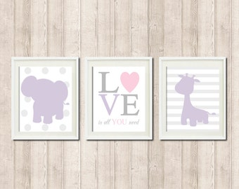 ELEPHANT Nursery Art Decor GIRAFFE Love Is All You Need QUOTE Lilac Pink Gray Grey Set of 3 Prints Baby Elephant Nursery Wall Art Prints