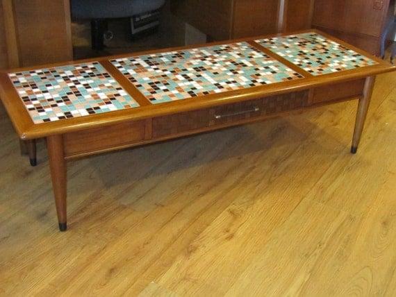 lane vintage mid century walnut tile coffee table reserved. Black Bedroom Furniture Sets. Home Design Ideas