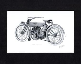 Pencil drawing of a 1909 Harley Davidson motorcycle