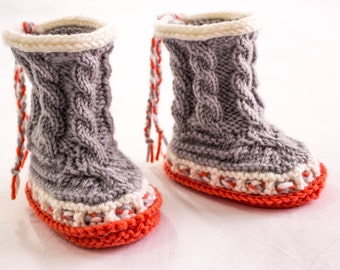 KNITTING PATTERN, Baby Boots, High Top Booties,  Cable Baby Boots, Baby Ugg Boots, High Booties, Winter Booties, Cable Baby Booties