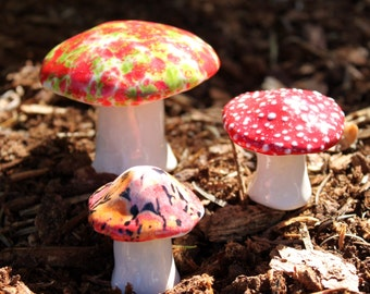 Three hand crafted ceramic toadstools - T56