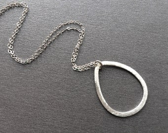 Sterling Teardrop Necklace, Everyday Sterling Necklace, Sterling Silver Hoop and Chain