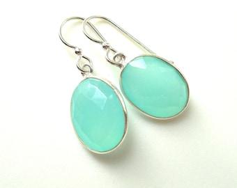 Aqua Chalcedony Drop Sterling Earring, Dangle, Faceted Oval, Aqua Mint Chalcedony Earring,