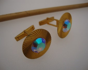 Vintage Excellent Cufflinks Men's Multicolored Aurora Crystal Gold Plated Russia
