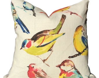 pillow cover, birds, yellow, blue, red and green birds 17x17, 18x18. 20x20, 22x22