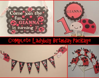 Complete Ladybug Birthday Package, First birthday, ladybug bithday