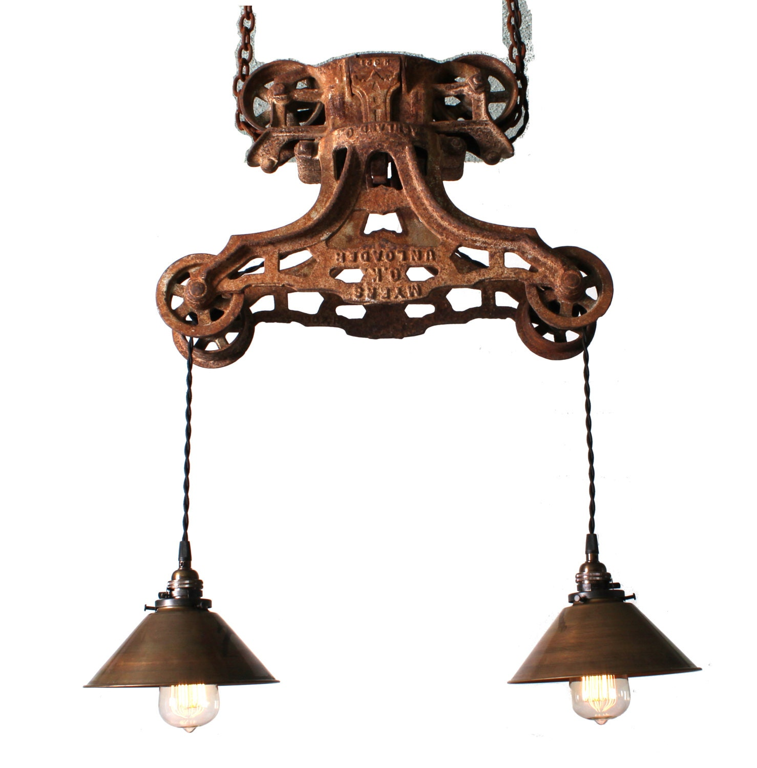 Just Reduced Rustic Handmade 3 Bulb Hanging Light Fixture Or: Custom For Tamara: Vintage Barn Door Pulley By ParisEnvy