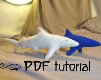 DIY Felt Shark Making Pattern, felt animal, felt animal tutorial in a PDF file