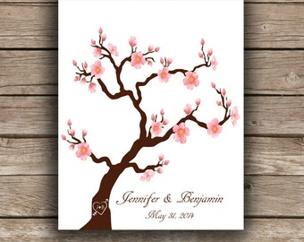 Cherry Blossom ThumbPrint Fingerprint  Signature Wedding Tree Guest Book Alternative / Gift / Poster
