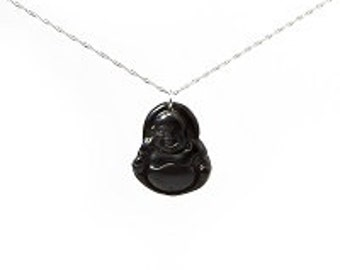 Black Jade Laughing Buddha Necklace, Happiness, Good Health, Success
