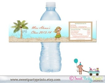 Set of 30 Hawaiian Water Bottle Labels - ( SKU: HGBL3D )