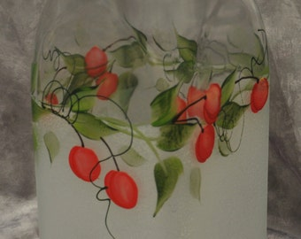 Hand painted, Red Cherries Kitchen Canister