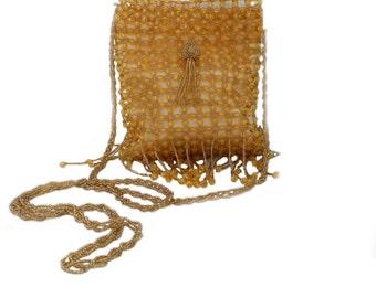 Elegant Evening Gold Beaded Bag
