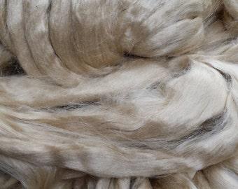 Natural honey tussah silk roving, tops,fibre, fiber - spinning felting (unbleached)