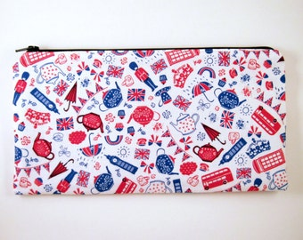 London Zipper Pouch, Pencil Pouch, Make Up Bag, Gadget Bag, Red, White and Blue