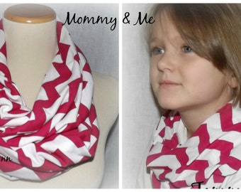 Mommy & Me Pink and White Chevron Infinity Scarf READY to SHIP Scarves Jersey Knit Soft